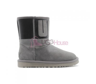 Угги UGG Classic Short Rubber Boot - Чёрные/Серые