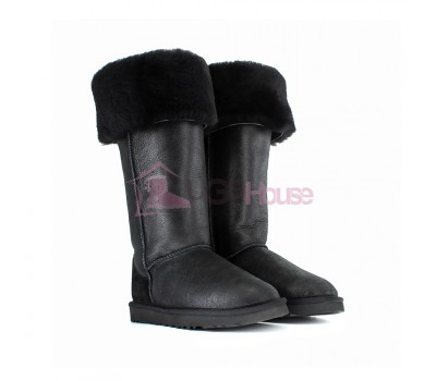 Угги Ботфорты UGG Boots Over The Knee Bailey Button 2 Bomber Black