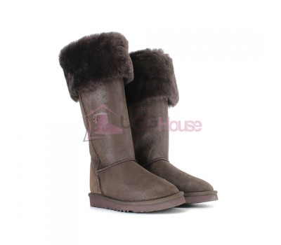 Угги Ботфорты UGG Boots Over The Knee Bailey Button 2 Bomber Chocolate
