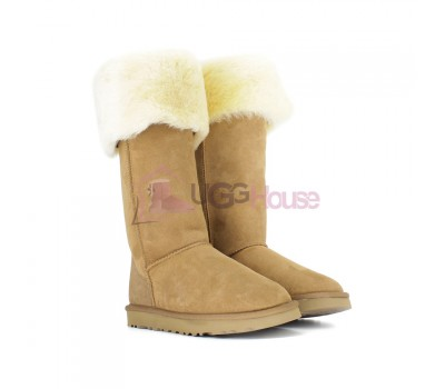 Угги Ботфорты UGG Boots Over The Knee Bailey Button 2 Chestnut
