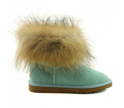 UGG Australia Fur Fox Aqua Угги мини с мехом лисы бирюзовые