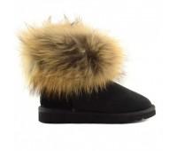 UGG Australia Fur Fox Black Угги мини с мехом лисы черные
