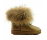 UGG Australia Fur Fox Skin Bronze Угги мини с мехом лисы бронзовые обливные