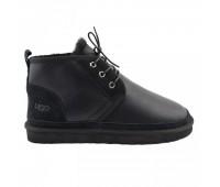 Угги мужские со шнурками мини черные обливные 10262