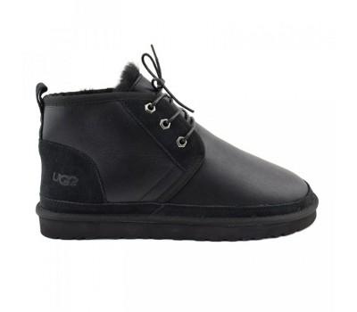 Угги мужские со шнурками мини черные обливные UGG Men's Neumel - Metallic Black