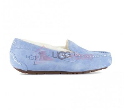 Мокасины женские голубые с мехом UGG Moccasins Women Ansley Light Blue