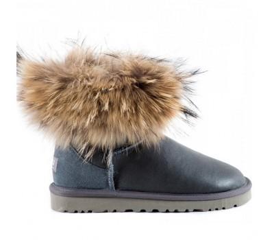 Угги с мехом лисы Серые обливные UGG Australia Fur Fox Grey Metallic