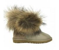 Угги с мехом лисы бежевые обливные UGG Australia Fur Fox Sand Metallic