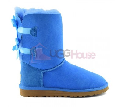 UGG Australia Bailey Bow Sky Blue Угги с лентами голубые