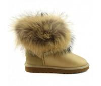 UGG Fur Fox Soft Gold Угги с мехом лисы золотые