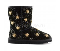 UGG Classic Short Stars Black Классические черные угги украшенные звездами и стразами