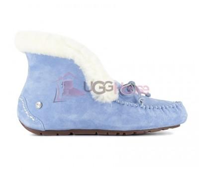 UGG Australia Alena Blue Голубые высокие мокасины с мехом