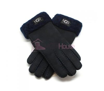 Мужские меховые перчатки Suede Navy - 1012