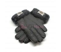Мужские меховые перчатки Leather Dark Grey - 1013