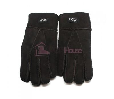 Мужские меховые перчатки Suede Black - 1009