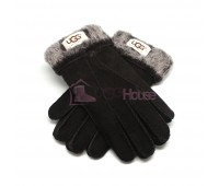 Мужские меховые перчатки Suede Black - 1015