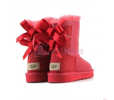 Угги Детские UGG Bailey Bow Toddler Metallic - Красные обливные