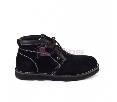 UGG Mens Iowa Black Мужские ботинки угги на шнурках черные