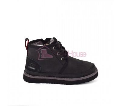 Ботинки Детские UGG Kids Neumel II WP Zip Boot - Black. Детские угги со шнурками и молнией черные