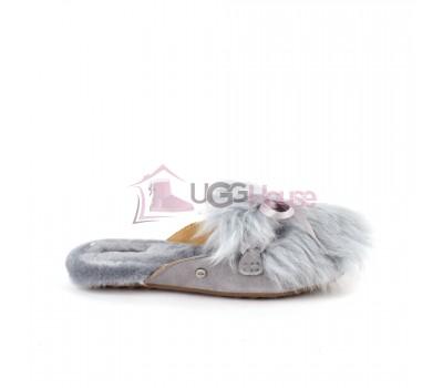 Меховые домашние тапочки UGG Shaine Fluff - Grey Серые