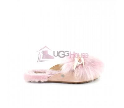Меховые домашние тапочки UGG Shaine Fluff - Pink Розовые