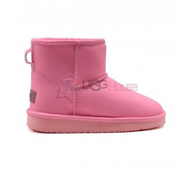 UGG Classic Mini Kids Night Glow Pink - детские кожаные фосфорные угги, светящиеся в темноте