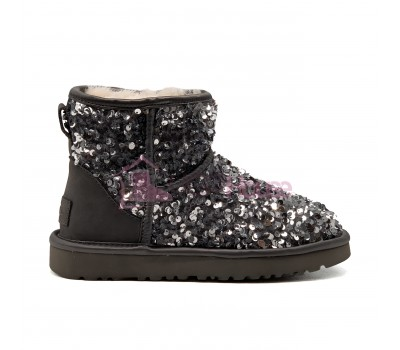 Угги Мини с пайетками UGG Sparcles Miracle Grey Серые