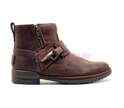 UGG Women Boot Cossack Chocolate Кожаные угги ботинки на каблуке шоколадного цвета