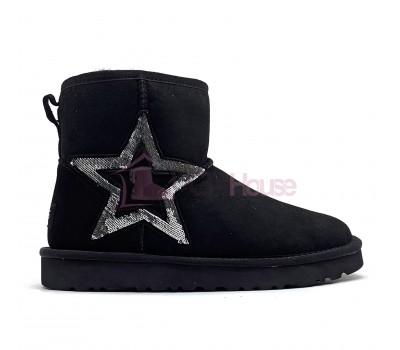 Угги Мини черные со звездой в пайетках UGG Classic Mini Sequins Black