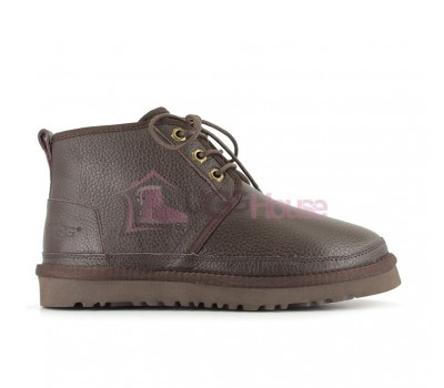 Ботинки UGG Neumel шоколадные Кожаные женские на шнурках