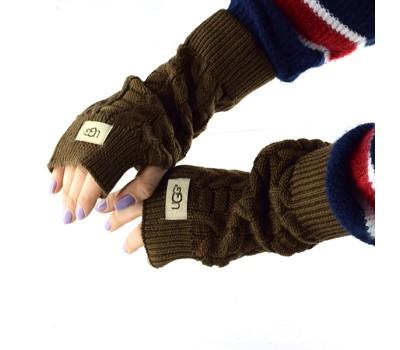 Перчатки-митенки UGG Knit Mitten Brown вязаные