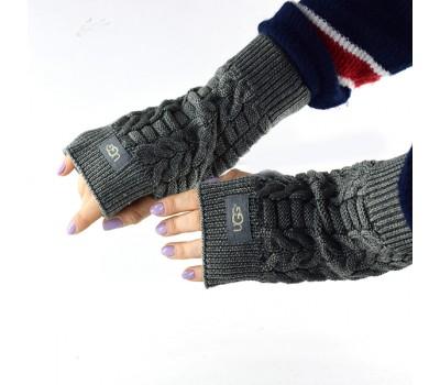 Перчатки-митенки UGG Knit Mitten Grey серые вязаные