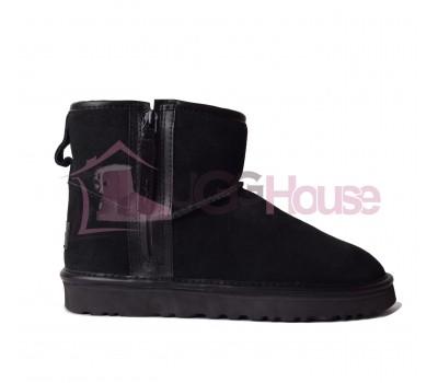 Угги UGG Mini Zip Boot Black с молнией сбоку черного цвета