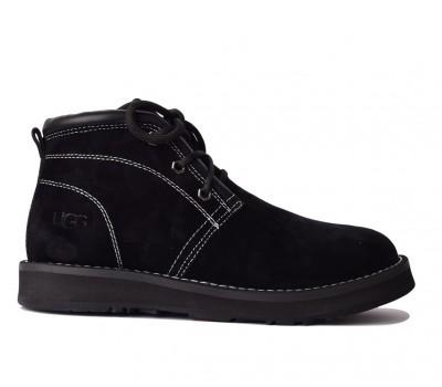 UGG Womens Iowa Black Ботинки угги черные на шнурках Айова