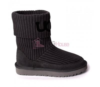 UGG® Classic Rib Knit Logo Boots - Grey Серые