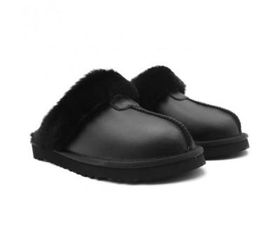 UGG Slippers Scufette Metallic Black черные тапочки угги на меху угги Австралия.