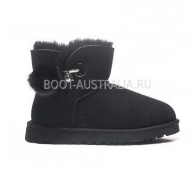 UGG Irina Mini Black черные с застежкой и помпоном