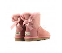 UGG Bailey Bow Mini II Light Pink Угги мини нежно-розовые с ленточкой непромокаемые