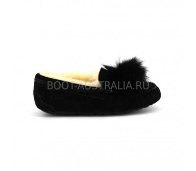Женские Мокасины UGG Dacota Pom-Pom - Black черные