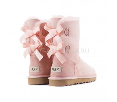 UGG Bailey Bow II Угги Розовые с лентами сзади непромокаемые
